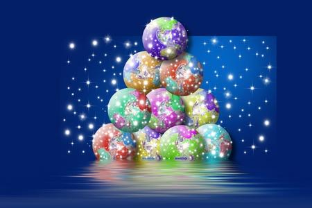 fondo azul: arbol de navidad formado por bolas del mundo en fondo azul con estrellas