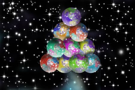 environmen: Christmas postal globes forming a starry black background spruce Stock Photo