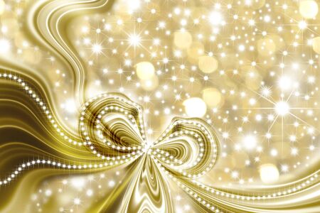 gold abstract background with a gift ribbon and stars photo