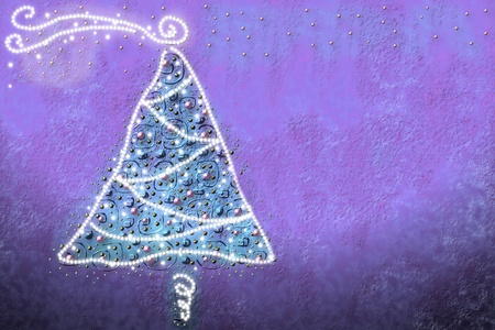 drawing by Christmas tree with baubles and lights photo