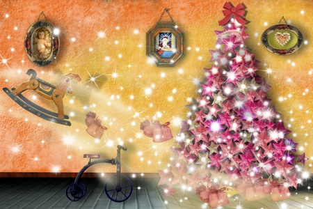 Christmas illustration, toys entering the home illustration