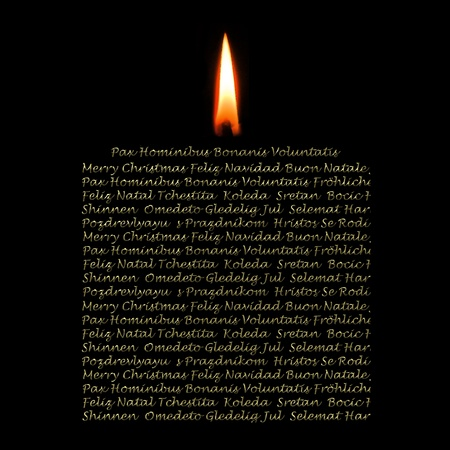 Christmas greetings candle consists in different languages photo