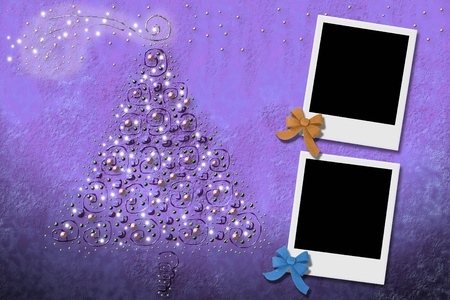 Christmas tree greeting card frames for two photos Stock Photo - 11021567