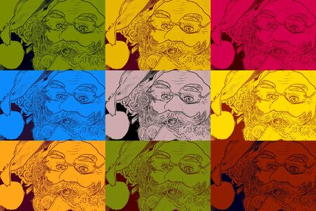 Christmas background santa face pop art style photo