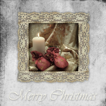 Christmas card, candle and  gifts, old lace framed photo
