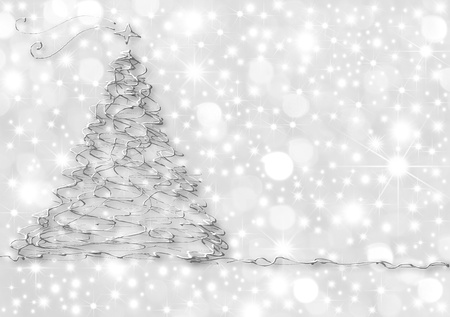 Christmas Cards, abstract silver fir on starry background