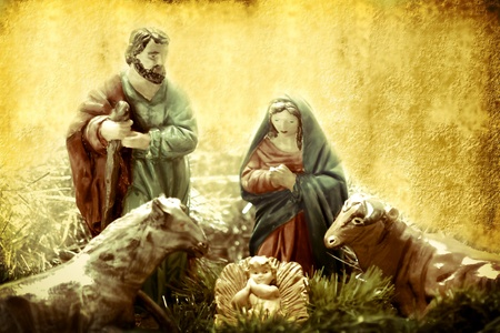 Christmas Cards, Nativity scene figures in retro background photo
