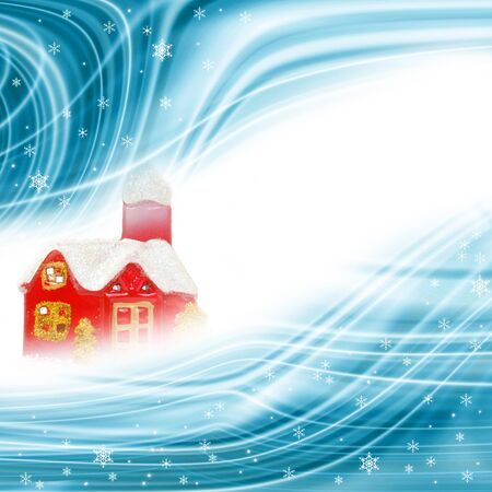 tex: christmas background, cottage and snowflakes with white space