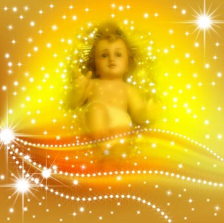 Cartolina di Natale Gesù Bambino in uno sfondo di stelle Archivio Fotografico - 11111860