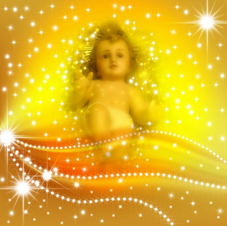 geburt jesu: Weihnachtskarte Jesuskind in einem Hintergrund von Sternen