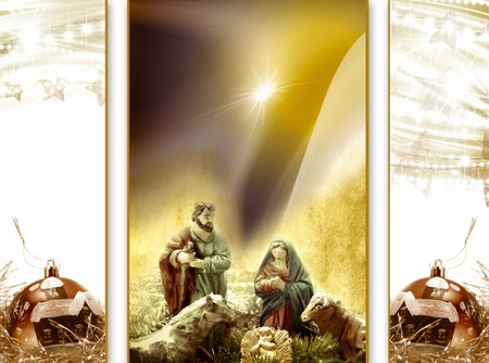 Postal Cards Christmas Nativity scene and Christmas decoration Stock Photo