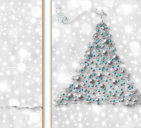 Christmas tree card silver metal thread