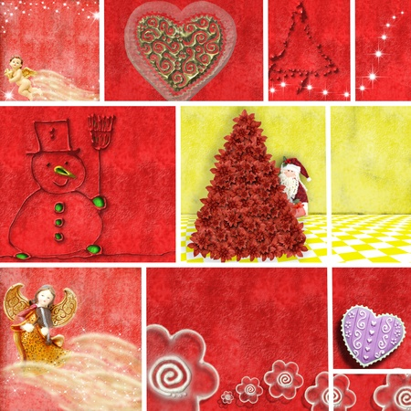 Christmas collage illustrations in shades of red and yellow Stock Illustration - 11111869