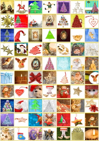 70: Christmas greeting cards, collage portrait of 70 different Christmas themes Stock Photo