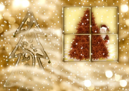 Christmas Cards, Santa Claus looking out the window on a gold background photo