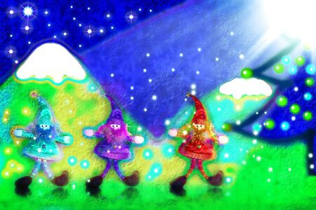 three santas elves, a landscape painted in child photo