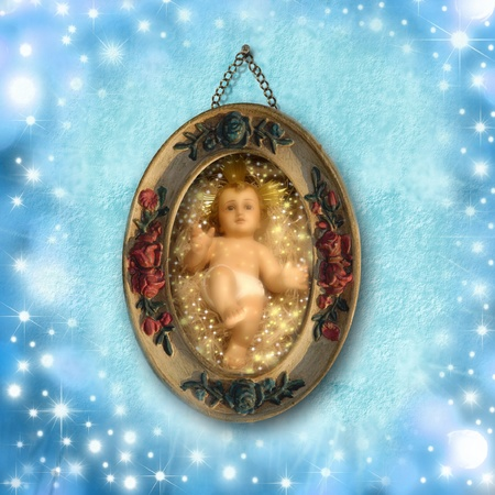 old picture of baby Jesus surrounded by stars Stock Photo - 11220911