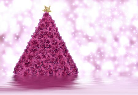 Christmas tree made of poinsettias in bright background stars photo