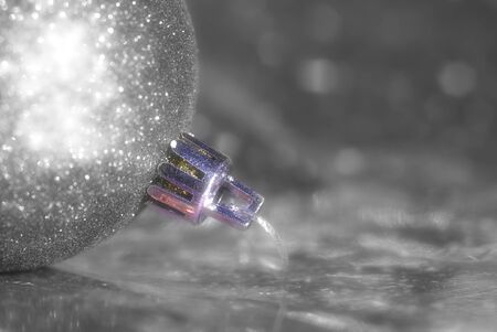 Christmas background silver ball, black and white photo