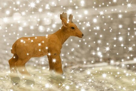 Christmas background figure of reindeer and stars Stock Photo - 11688429