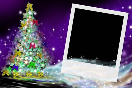 picture postcards: fir Christmas card and empty picture frame
