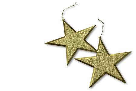 bedeck: two gold stars Christmas, isolated on white background Stock Photo