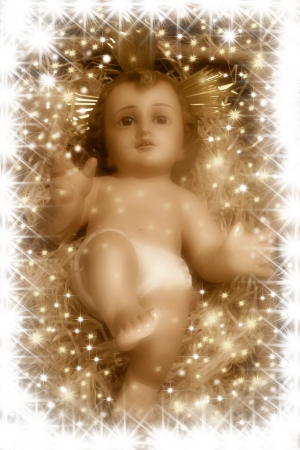 baby jesus:   Nativity scene, Baby Jesus in sepia tone   Stock Photo