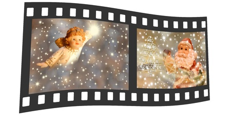 negative film with pictures of an angel Christmas and Santa Claus photo