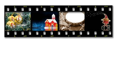 35mm slide film with Christmas photos on white background photo