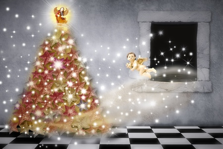 merry time: Christmas card, angels decorating the tree with stars