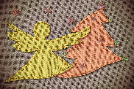 Christmas Cards patchwork silhouette of angel and fir Stock Photo - 11688470
