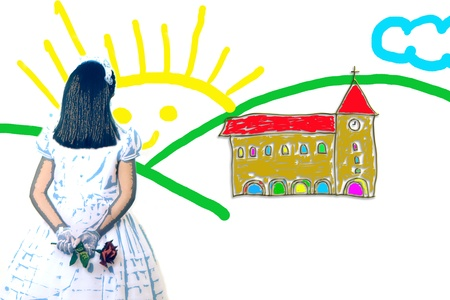childlike drawing of a girl first communion Church Road Stock Photo - 11929871