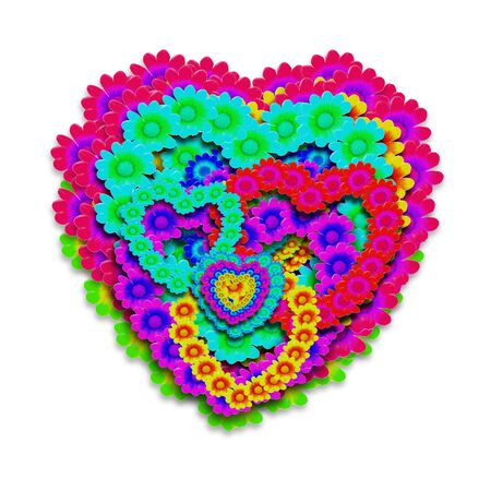 heart of flowers in bright colors isolated photo