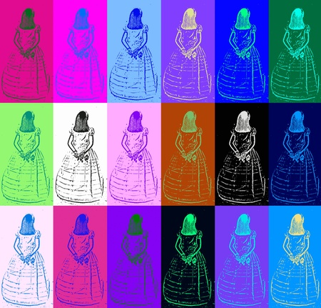 andy warhol: colorful background girl first communion dress