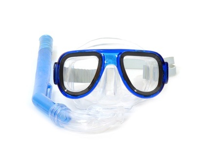 scuba goggles: diving mask and snorkel on white background