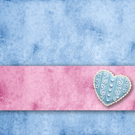 blue and pink background with heart and ribbon stripe with copy space    photo