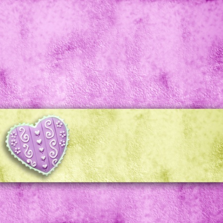 yelow: pink and yelow background with heart and ribbon stripe with copy space