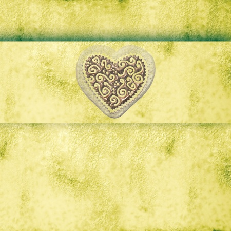 background with heart and ribbon stripe with copy space    photo
