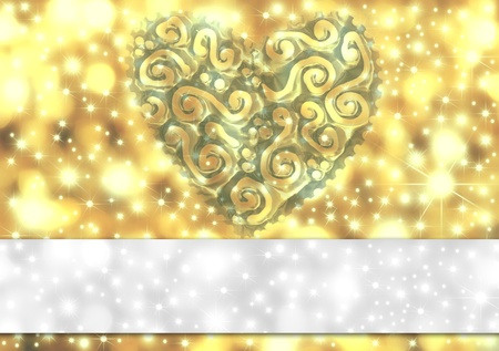 gold card with heart and stars and copy space Stock Photo - 12049866
