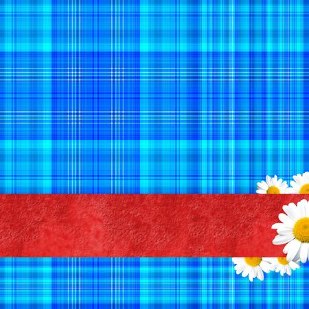 Geometric blue background with red ribbon and daisies photo