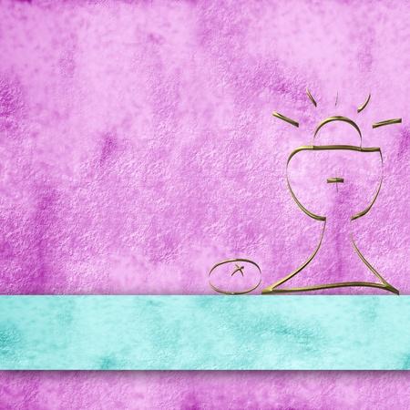 confirmacion: fondo del pergamino de color rosa y simple primera comuni�n c�liz