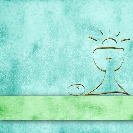 vormsel: blauwe perkament achtergrond en eenvoudige eerste communie kelk