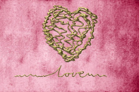 romantic cards, heart in gold thread on grunge background photo