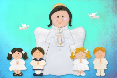 cheerful first communion card, angel with children of sugar on colorful background