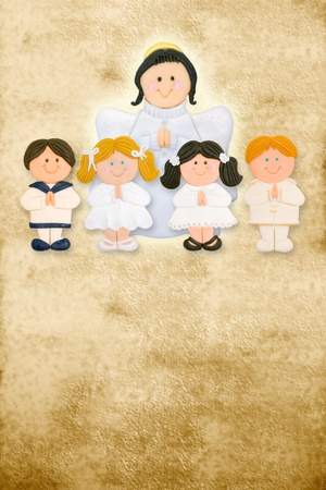 first communion card vertical, angel with a group of children on parchment photo