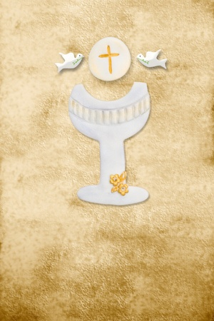 first communion: first communion card, chalice, wafer and pigeons, parchment background