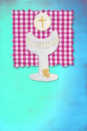 vertical card first communion, cute chalice and wafer for girls photo