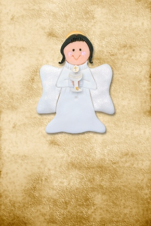 riser card, first communion angel, parchment background photo
