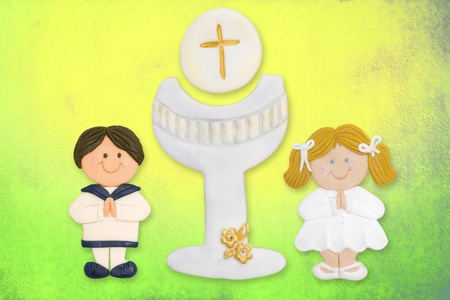 cheerful card first communion, child and chalice Stock Photo - 12379762