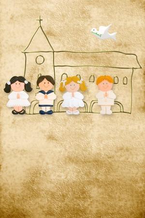 premi�re communion: vertical de carte de premi�re communion, des enfants heureux en arri�re-plan parchemin